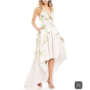 Jump Apparel Floral High Low Mikado Tulip Gown